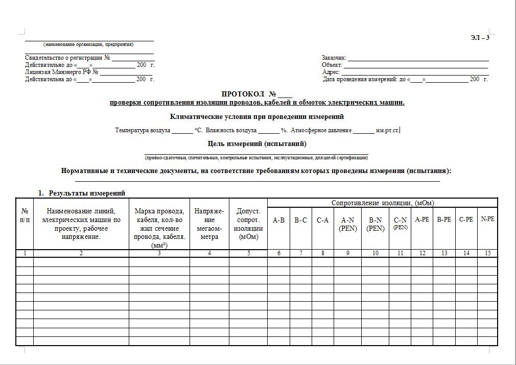 бланк протокола 169.т-3 проверка сопротивления изоляции проводов